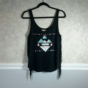 HOLLISTER | Embroidered Fringe Black Tank Top NWT!